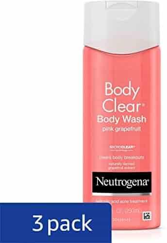 Neutrogena Body Clear Body Wash, Salicylic Acid Acne Treatment, Pink Grapefruit, 8.5 Fl. Oz. (Pack of 3)
