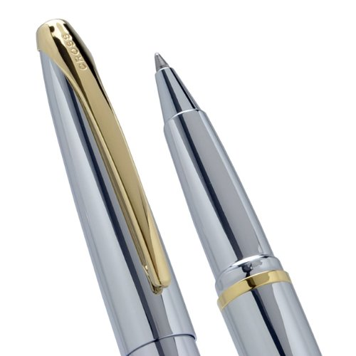 Cross ATX Medalist, Selectip Rolling Ball Pen, with Highly Polished Chrome with 23 Karat Gold Appointments