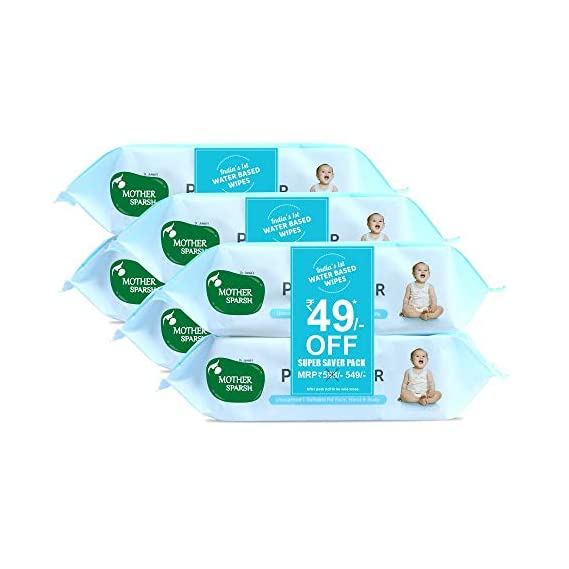 Mother Sparsh 99% Pure Water (Unscented) Baby Wipes I Natural Plant Made Cloth - Super Thick I 72 pcs/Pack - Pack of 6