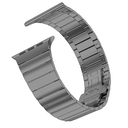 iiteeology Compatible with Apple Watch Band Series 5/4 Series 3/2/1, Upgraded Version Stainless Steel Link iWatch Band for Women Men (Space Gray-1 Row, 42mm/44mm)