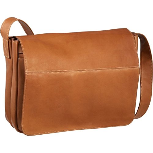 Le Donne Leather Full Flap Leather Laptop Messenger Bag, Tan