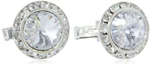 Stacy Adams Men's Silver Clear Rondell Cuff Link, Crystal, One Size by Stacy Adams (Image #1)