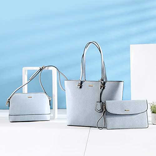 LOVEVOOK Sac a Main Femme Sac Bandouliere Porte Monnaie 3 Pièces Grande Capacité Bleu Clair