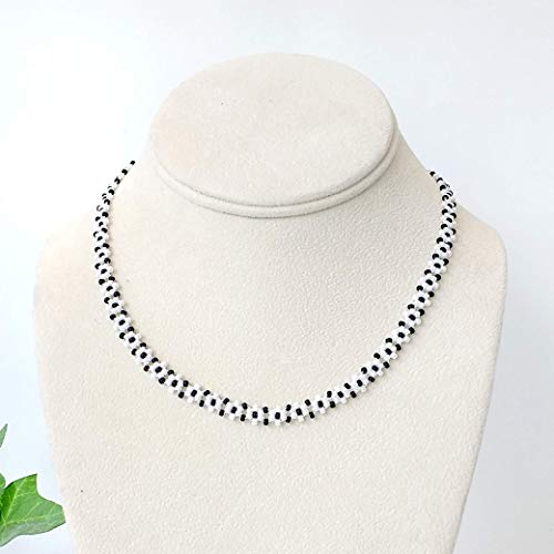Handmade White and Black Daisy Necklace Adj 16-20 Inches