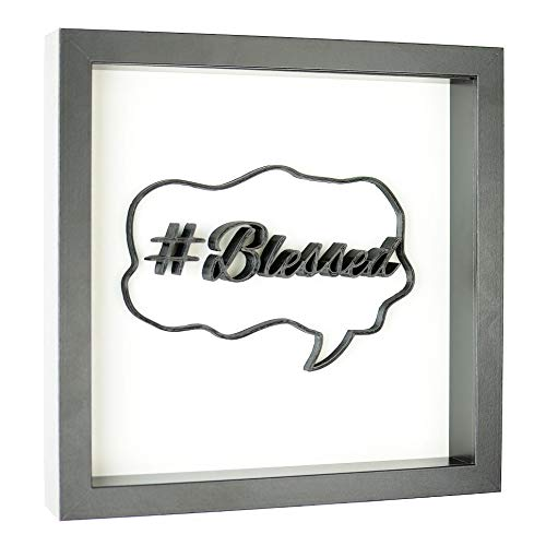 3D Wall Art Sign - 10 x 10 inches by Arctic 3D Plaque Poster Shadowbox Frame (#Blessed Hashtag)