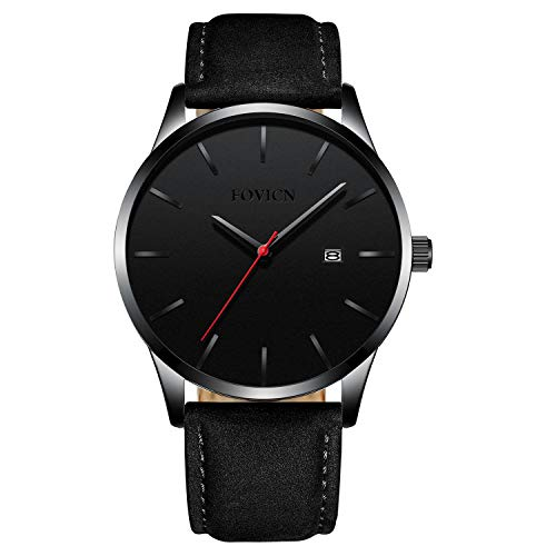 Men's Watch Black Leather Strap Business Watch Casual Sport Waterproof Quartz Wrist Watches for Men