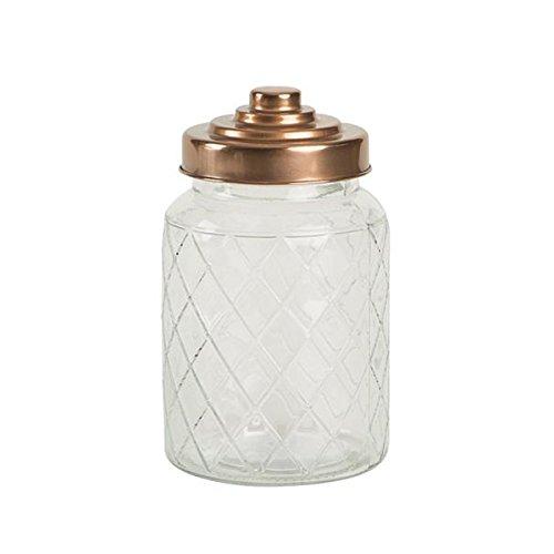 Entramado jarra de cristal con acabado de cobre tapa 950 ml –  tarro de cristal Vintage T&G Woodware