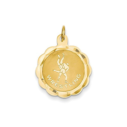 14k Yellow Gold Wrestling Disc Charm by K&C