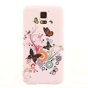 GX Mariposas y Patrón Círculo TPU cubierta suave para Samsung Galaxy i9600 S5
