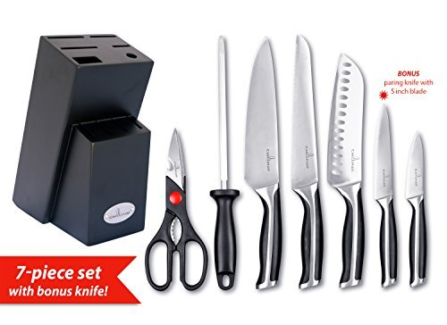 Culina Pro 7-Piece German-steel Forged Knife Set with Wood Storage Block and 5-inch Utility Knife 5 Piece Utility Set