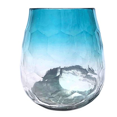 Whole House Worlds The Hamptons Lush Tropical Pale Aqua Marine Ombre Hurricane Wind-light, Artisinal Faceted Glass, Hand Blown and Molded, 7 1/2 Inches Tall, By WHW