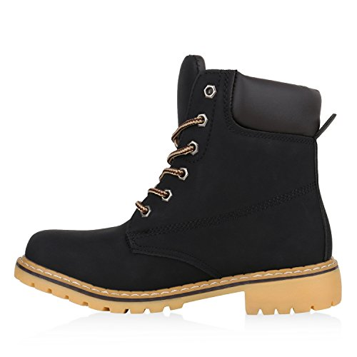 Stiefelparadies Damen Herren Unisex Worker Boots mit Blockabsatz Profilsohle Flandell Schwarz Schwarz Avelar