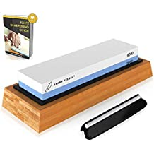 Sharp Pebble Premium Whetstone Knife Sharpening Stone 2 Side Grit 1000/6000 Waterstone | Best Whetstone Sharpener | NonSlip Bamboo Base & Angle Guide