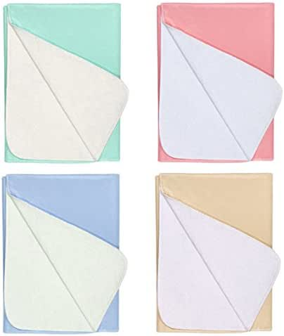 Nobles 4 PACK - Waterproof Reusable Incontinence Underpads/Washable Incontinence Bed Pads - 1 of Each Color Green, Tan, Pink and Blue Size 23x35 - Great for adults, kids and pets