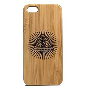 Illuminati Pyramid iPhone 4 4S Bamboo Case. The All Seeing Eye Symbol. Eco-Friendly Wood Cover Skin.