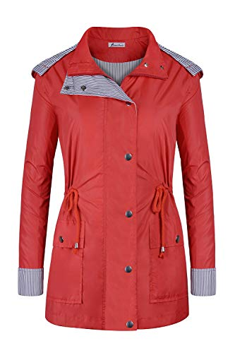 Twinklady Rain Jacket Women Windbreaker Striped Climbing Raincoats Waterproof Lightweight Outdoor Hooded Trench Coats Short Red -