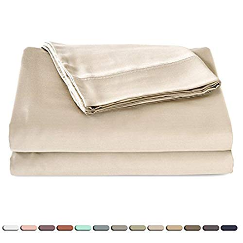 Jersey 100% Bamboo - Hotel Quality Silky Soft 100% Bamboo-Derived Rayon Bed Sheet Set Queen Size 4 Pieces (1 Deep Pocket Fitted Sheet, 1 Flat Sheet, 2 Pillowcases) Hypoallergenic Breathable Ivory White Satin Bedding