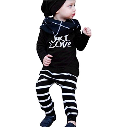 1Set Infant Baby Boy's Letter Print T-shirt Tops+Striated Pants Outfits Clothes