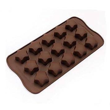 Ziroom Bandejas para cubitos de hielo – Color chocolate silicona 15 Pentagram para hacer cubitos de
