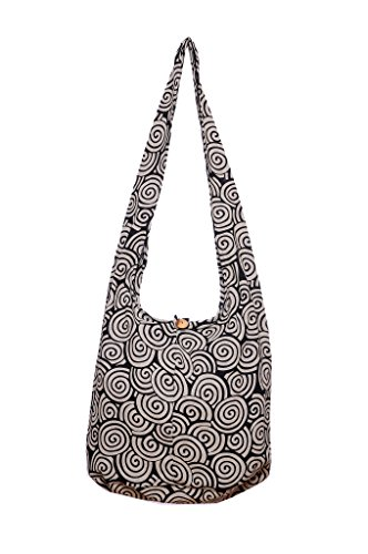 Avarada Thai Cotton Hippie Hobo Sling Crossbody Bag Messenger Purse Bohemian Spiral Black