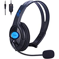 Joso Wired PS4 Gaming Chat Headset With Mic Volumn Control 3.5mm Online Live Game Gaming Headphone Earphone Headband with Mic Stereo for Sony Playstation 4 PS4 Slim, PS4 Pro Controller