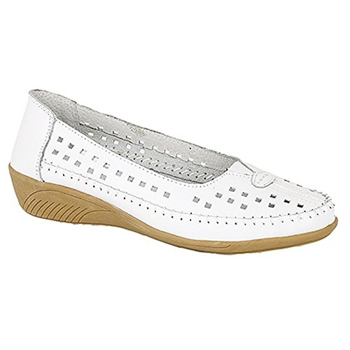Boulevard Gusset Shoes Beige Summer Casual Leather Punched Womens Ladies Centre 8wtrwv