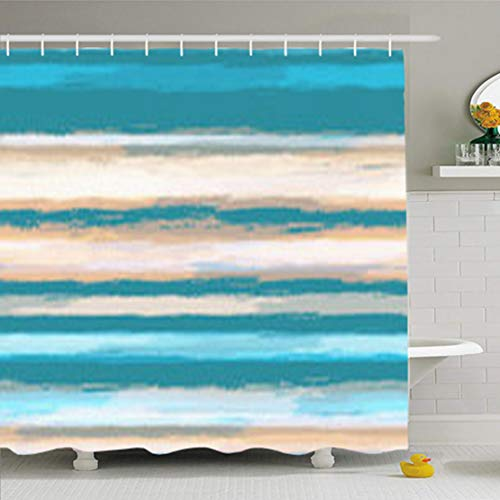 HomeOutlet Shower Curtains Bathroom 72 x 72 Inches Brush Watercolor Stripes Grunge Style Hand Drawn Ad Cool Waterproof Polyester Fabric Home Decor Bath Set Hooks from HomeOutlet
