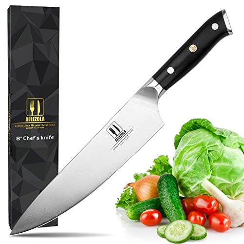 Professional Chef's Knife, Allezola Razor Sharp 8-inch High Carbon Stainless Steel Germany Kitchen Knife, Triple Riveted G10 Wooden (Rusty Wooden Knife)