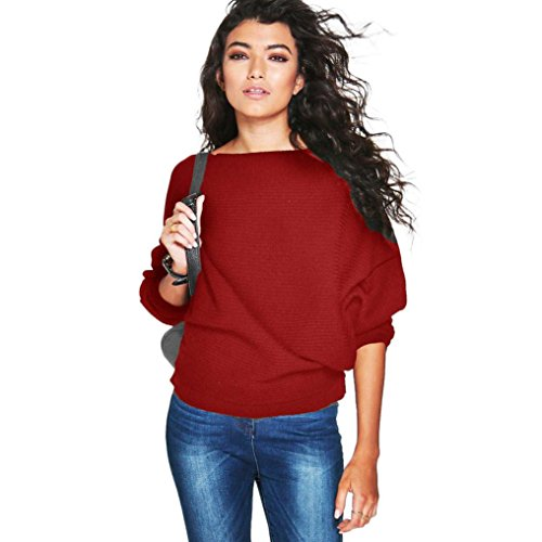 Gown Stripe Candy (kaifongfu Women Sweater, Batwing Sleeve Knitted Pullover Loose Sweater Jumper Tops Knitwear (M, Red))