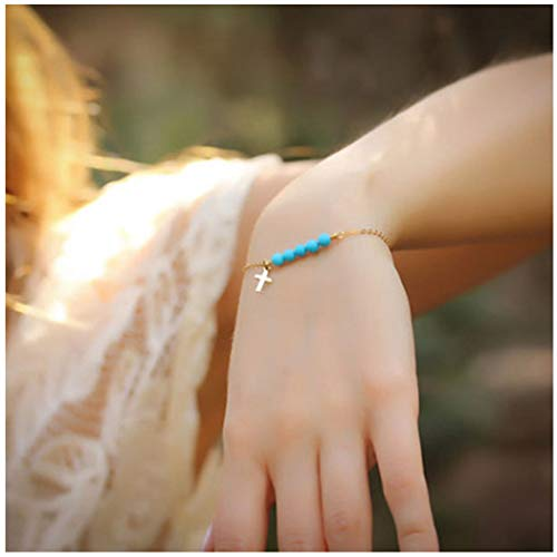 Olbye Turquoise Cross Bracelet Gold Minimalist Hand Chain Everyday Bracelet Boho Jewelry for Women and Teen Girls