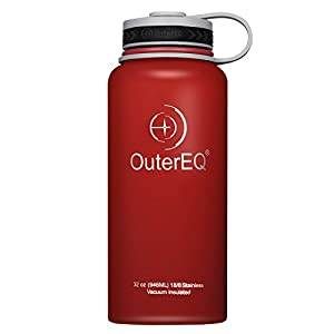 OuterEQ Insulated Stainless Steel 32 oz Water Bottle - Wide Mouth Bottles - Double Walled Vacuum (Red)