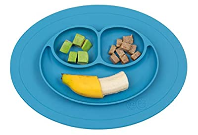 ezpz Mini Mat (Blue) - 100% Silicone Suction Plate with Built-in Placemat for Infants + Toddlers - First Foods + Self-Feeding - Comes with a Reusable Travel Bag