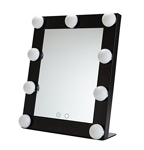 Yvettevans Hollywood Makeup Vanity Mirror with Light Tabletops Lighted Mirror with Dimmer Stage Beauty Mirror Valentine's Day Gift Small (Black) -