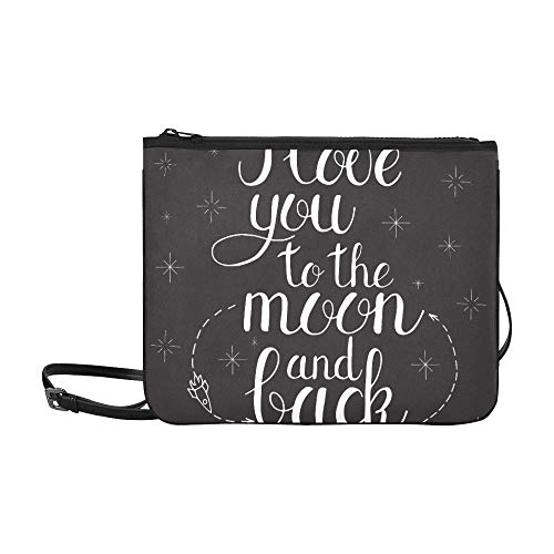 I Love You To The Moon And Back Pattern Custom High-grade Nylon Slim Clutch Bag Cross-body Bag Shoulder Bag