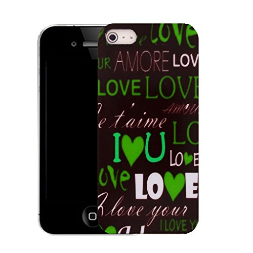 Mobile Case Mate IPhone 5 clip on Silicone Coque couverture case cover Pare-chocs + STYLET - green love message pattern (SILICON)