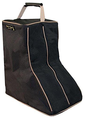 Paris Tack 3 Layer Padded Back Open Western Boot Bag, Black/Beige Trim]()