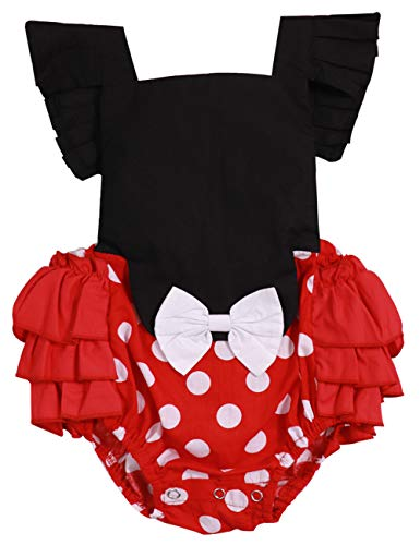 40710a7e6 Newborn Baby Girl Clothes Red Dot Ruffle Backless Romper Cute ...