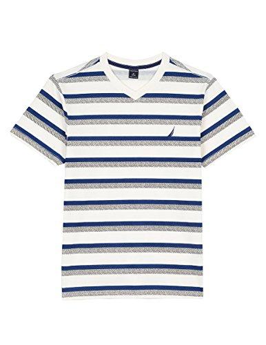 Nautica Boys' Little Short Sleeve Striped V-Neck T-Shirt, Cream Mini, 7