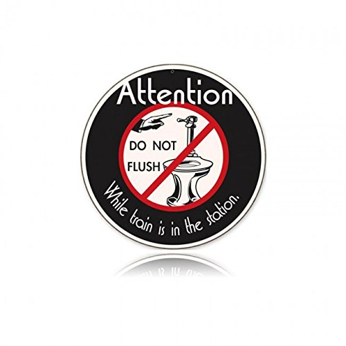 """Attention: Do Not Flush funny train/railroad sign 14"""" metal"""