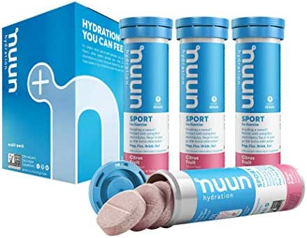 Nuun Sport: Electrolyte-Rich Sports Drink Tablets, Citrus Fruit, Box of 4 Tubes (40 servings), Sports Drink for Replenishment of Essential Electrolytes Lost Through Sweat