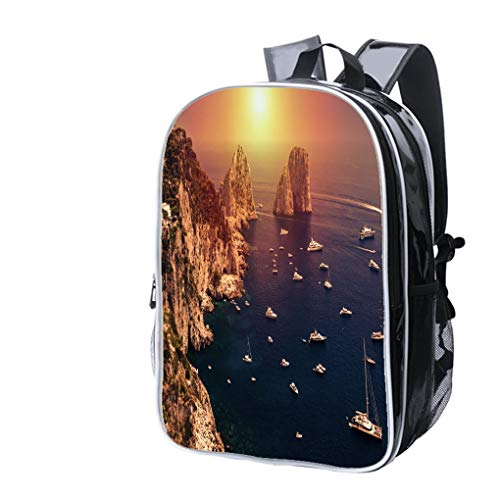 High-end Custom Laptop Backpack-Leisure Travel Backpack Faraglioni Capri Island in Sunrise Light Water Resistant-Anti Theft - Durable -Ultralight- Classic-School-Black ()