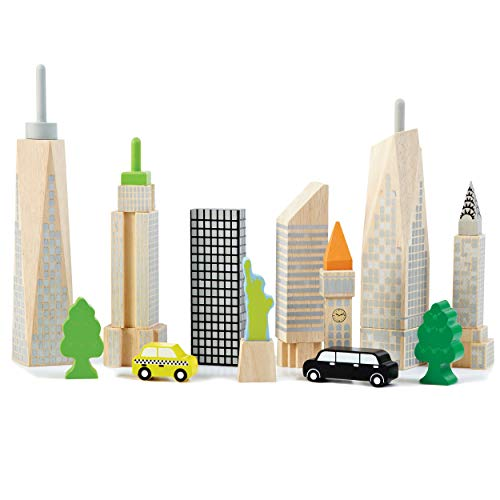 - Top Right Toys City Skyline Playset; 15 Piece Set with 8 Famous Skyscrapers and City Landmarks