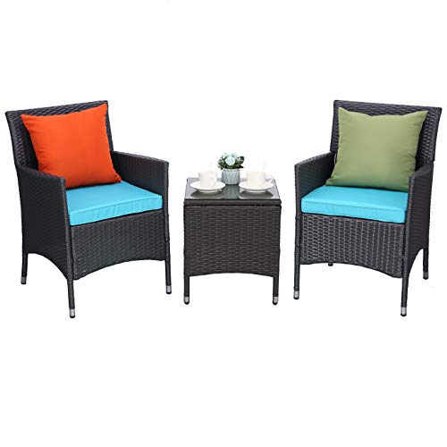 Do4U 3 Pieces Outdoor Patio Furniture Set Outdoor Wicker Conversation Set Cushioned PE Wicker Bistro Set Rattan Chairs with Coffee Table Porch Backyard Pool Garden Dining Chairs (Turquoise) (Contact Rattan Direct)