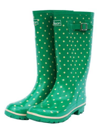 Wide Calf Rain Boots - Green with Cream Spots and Fleece Lining