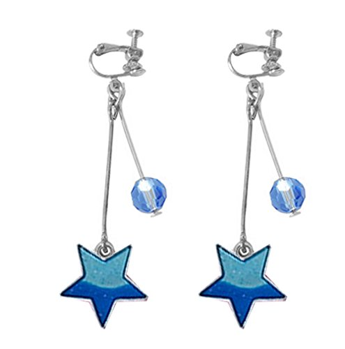 Screw Back Clip on Earring Clip for No Piercing Drop Dangle Star Space Bead Silver-tone for Teens