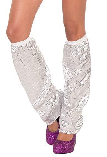 Forum Novelties Women's Standard Sequin Leg Warmers, Silver, STD]()