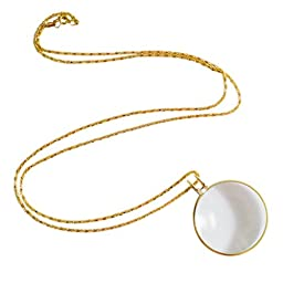 Necklace with 1-3/4 Inch Optical Magnifier Lens and 36-Inch Gold Chain for Library, Reading Fine Print, Zooming, Increase Vision, Jewelry by Super Z Outlet