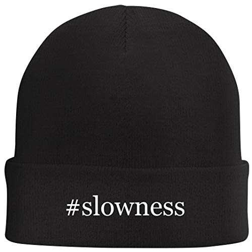 Tracy Gifts #Slowness - Hashtag Beanie Skull Cap with Fleece Liner, Black, One Size
