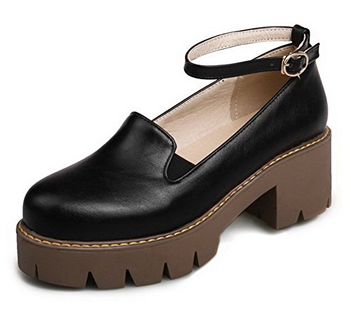 Odomolor Women's PU Buckle Round-Toe Kitten-Heels Solid Pumps-Shoes, Black, 39