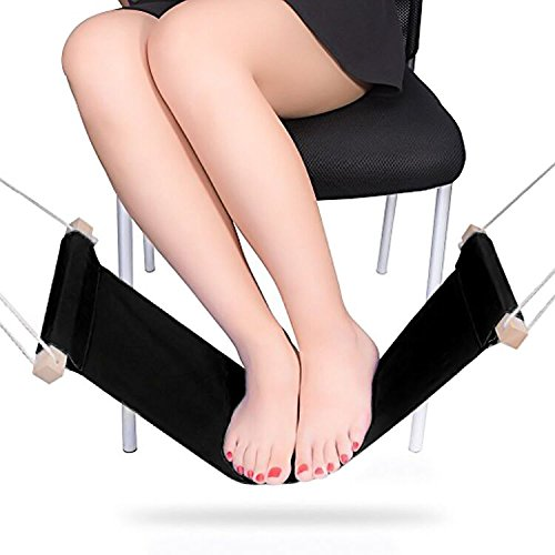 Foot Hammock - Portable & Adjustable Foot Rest Under The Desk Portable Desk Foot Stool Hammock Style Foot Rest For Home and Office Foot Rest Stands Replace Footstools by Bseen Black by Bseen